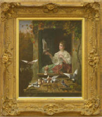 "Eugene Remy Maes and Jan Frederik Portiel, Lady with Birds, OOC, 22 ½"" x 18 ½"" - Sold $13,000"