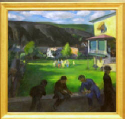 "Francis Speight Oil on Canvas ""Children Playing"", 1934, 42"" x 40"", (Coaldale, Pennsylvania) - Note: Speight painted himself as second figure from the right - Sold $31,900.00"