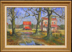 "Francis Speight Oil on Canvas, Farm Buildings and Blue Puddles, 1969, 20""x 30"" - Sold $31,900.00"