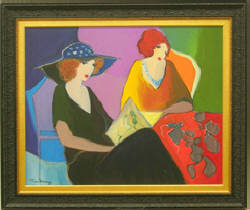 "Itzchak Tarkay, Leisure Time, Acrylic on Canvas, 40"" x 32"" - Sold $8,800"