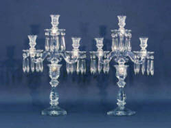 Pair Heisey Pattern Number 300 Candelabras 21 Inches Tall - Sold $385