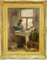 "Tony Offermans Oil on Canvas ""Delft Potter"" - Sold $7,700"